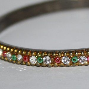 Vintage Jewelry - Vintage gold bangle with red green and white